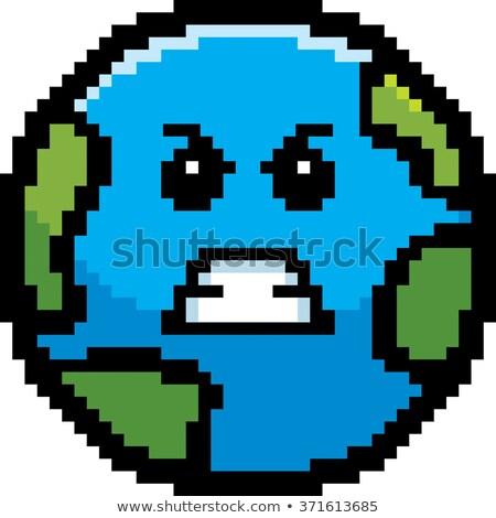 Stock photo: Angry 8-Bit Cartoon Planet