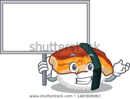 Krzyczeć sushi toczyć maskotka cartoon charakter pałeczki do jedzenia Zdjęcia stock © hittoon