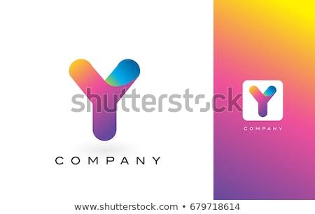 Amarelo roxo logotipo carta assinar fonte Foto stock © blaskorizov