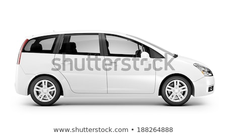 Voiture électrique blanche illustration design fond rouge Photo stock © bluering