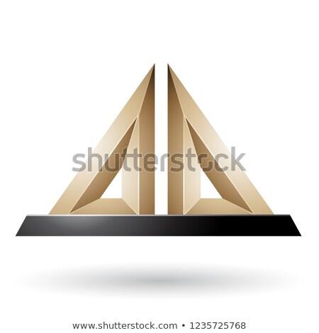 Beige 3d Pyramidical Embossed Shape Vector Illustration Stock photo © cidepix