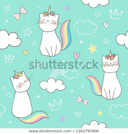 Stock fotó: állat · firka · skicc · aranyos · macska · illusztráció