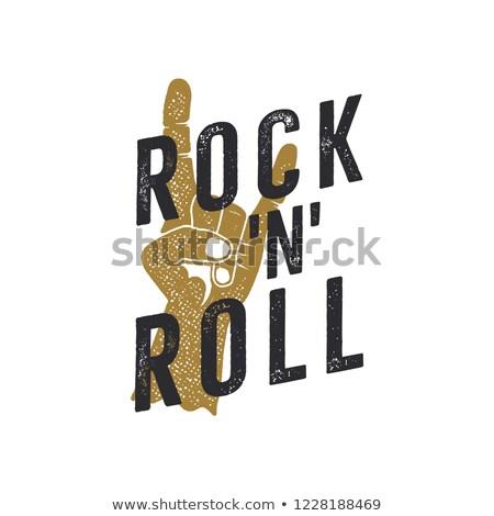 рок · катиться · рукой · знак · эскиз · икона · вектора - Сток-фото © jeksongraphics