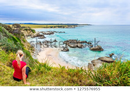 Female sitting by the coastal bluff looking out to the rocky beach belo Stock photo © lovleah