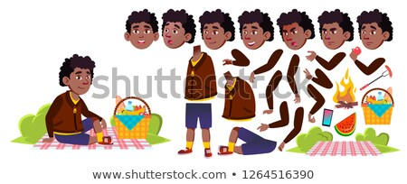 Boy Schoolboy On Picnic Vector. Black. Afro American. Animation Creation Set. Study. Summer Hiking R Stock photo © pikepicture