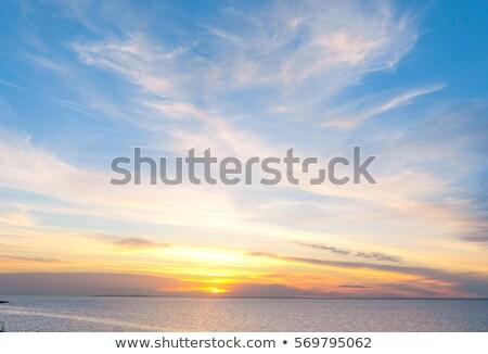 Photo stock: Coucher · du · soleil · ciel · grand · soleil · bleu · orange