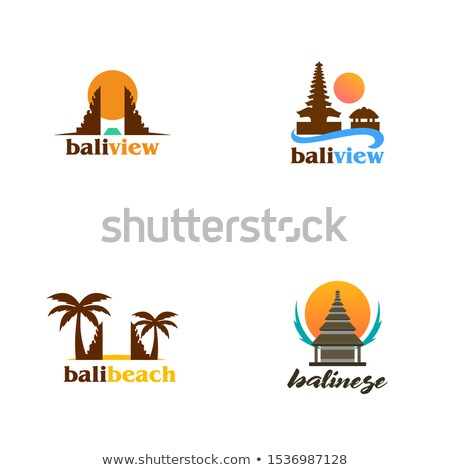 バリ · 日没 · シルエット · 穏やかな · 楽園 · ツリー - ストックフォト © vector1st