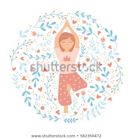 eenvoudige · tekening · gelukkig · meisje · illustratie · vrouw · gelukkig - stockfoto © colematt