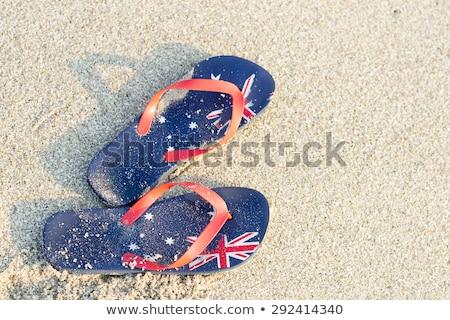 Australisch vlag strand afgedrukt golf Stockfoto © lovleah