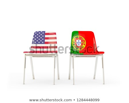 Two chairs with flags of US and portugal isolated on white Stock photo © MikhailMishchenko