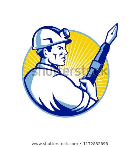 Stock photo: Coal Miner Fountain Pen Mascot