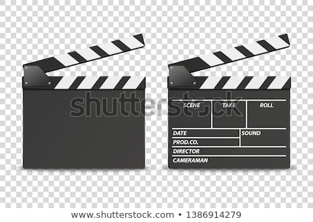 Stock photo: Vector realistic illustration of open movie clapperboard or clapper isolated on background. Black ci