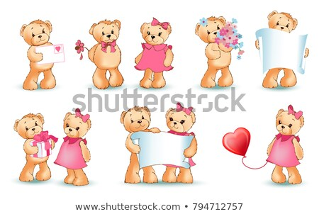 San valentino peloso orso fiore lettera vettore Foto d'archivio © robuart