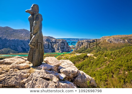 Stock photo: Town of Omis and Cetina river mouth panoramic view