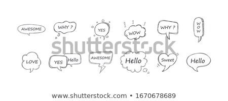 Igen felirat papír szövegbuborék felhő beszéd Stock fotó © FoxysGraphic