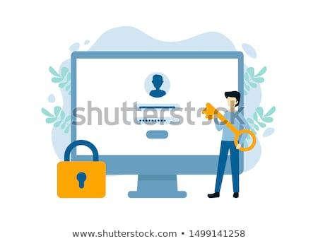 Inloggen tekst moderne laptop scherm kantoor Stockfoto © Mazirama