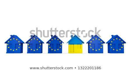 House with flag of ukraine in a row of EU flags Stock photo © MikhailMishchenko
