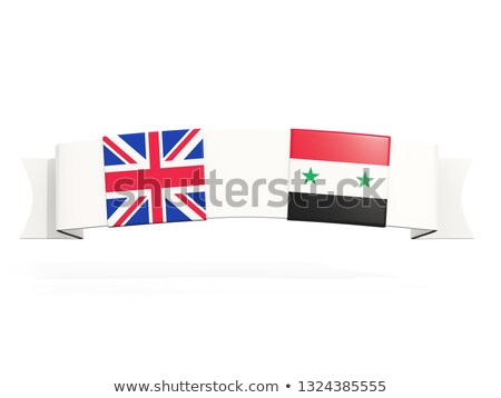 banner with two square flags of united kingdom and syria stock photo © mikhailmishchenko