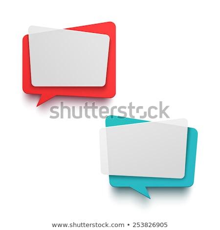 Niebieski origami czat bańki stylu banner papieru Zdjęcia stock © SArts
