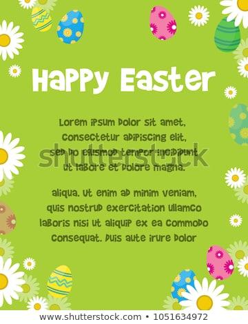 Pasen scène gekleurde eieren lentebloemen konijn gelukkig Stockfoto © neirfy