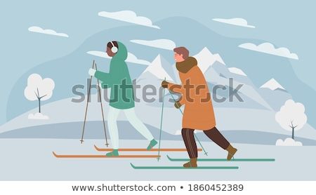 Skiing Family Wintertime Sports and Hobby of People Stock photo © robuart