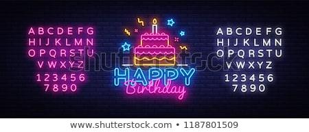 С Днем Рождения неоновых баннер дизайна вечеринка поощрения Сток-фото © Anna_leni