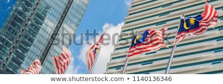 флагами Малайзия Небоскребы здании город пейзаж Сток-фото © galitskaya