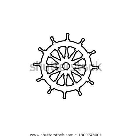 Stock photo: vector black, white rope boat handwheel, ship wheel helm