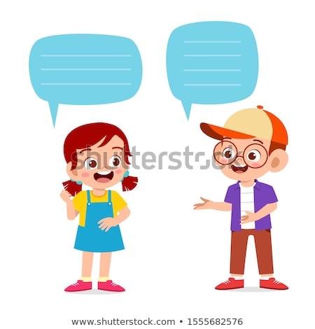 Vidám fiú lány szöveglufi illusztráció boldog terv Stock fotó © colematt