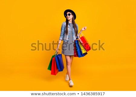 Meisje model jurk hoed store vrouwen Stockfoto © ElenaBatkova