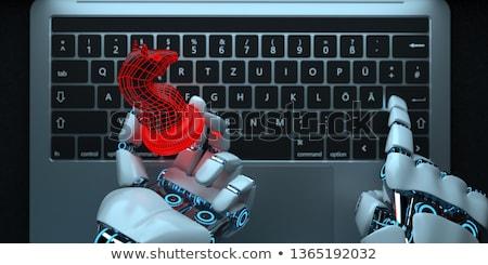 Robot el truva at defter karanlık Stok fotoğraf © limbi007