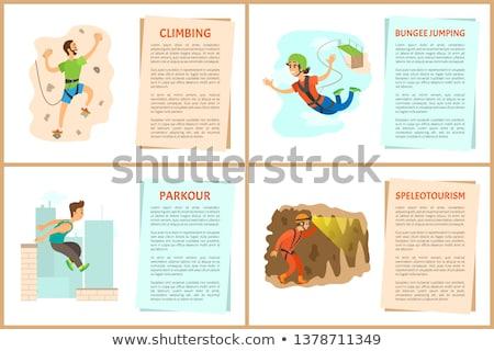 Személy barlang tevékenység vektor férfi visel Stock fotó © robuart