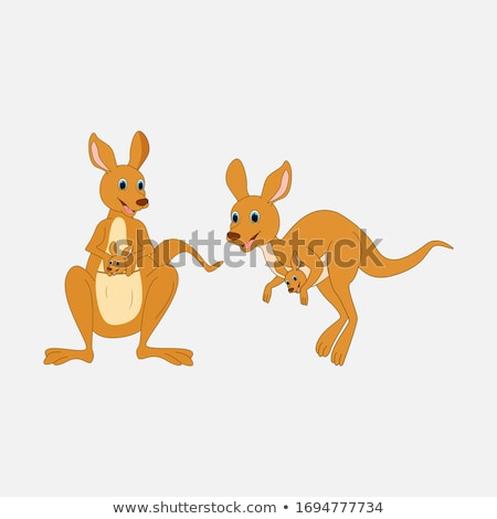 Stock photo: A kangaroo on note template