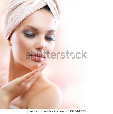 gelukkig · jonge · vrouw · room · hand · schoonheid - stockfoto © serdechny
