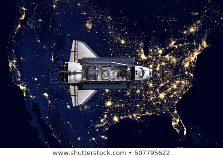 Space Shuttle and aerial night view of the USA Stock photo © NASA_images