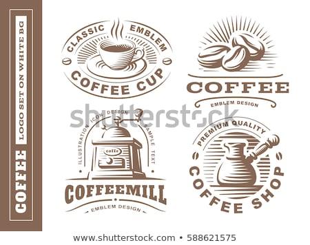 Koffiebonen koffiemok ontbijt vector illustratie geïsoleerd Stockfoto © cidepix