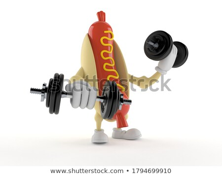 Sausage Cartoon Character Training With Dumbbells Stock photo © hittoon
