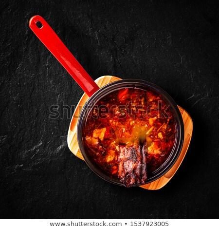 bonensoep · voedsel · kip · diner · hot · peper - stockfoto © grafvision
