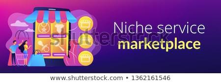 Nisza usługi rynek banner malutki Zdjęcia stock © RAStudio