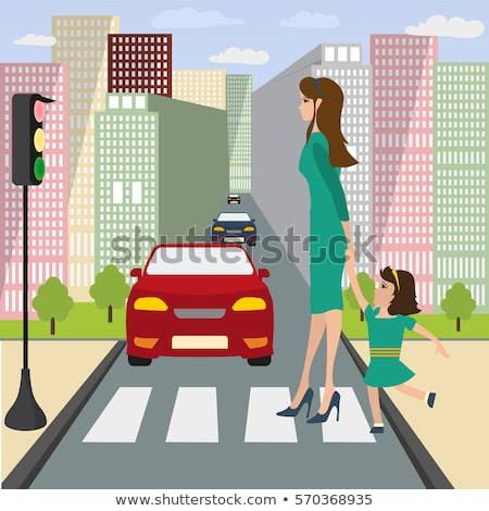 cityscape people family in city traffic lights stock photo © robuart