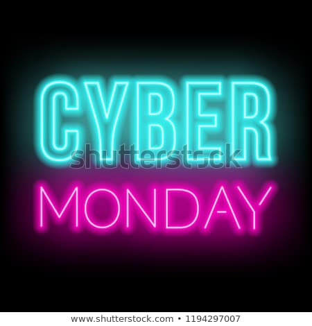 cyber monday sale neon icons promotional poster stock photo © robuart