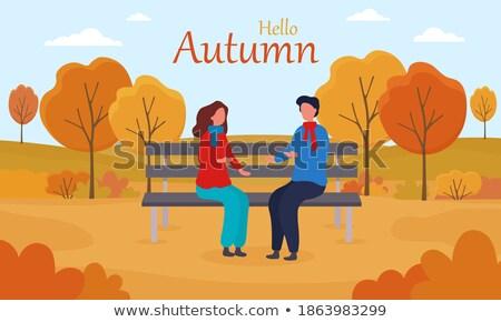 çift oturma bank düşmek park merhaba Stok fotoğraf © robuart