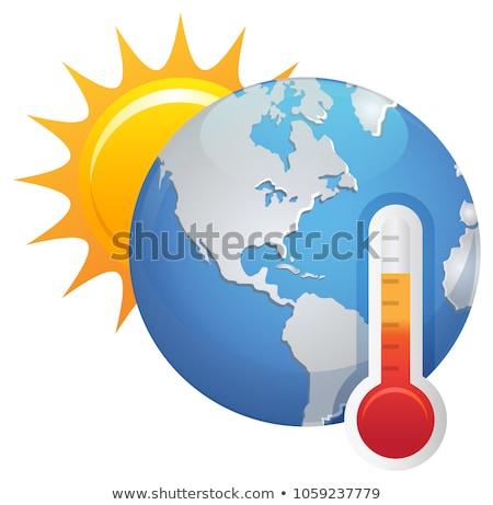 Ziemi termometr globalne ocieplenie czarny kopia przestrzeń Zdjęcia stock © make