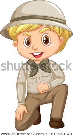 Menino escoteiro uniforme sessão branco ilustração Foto stock © bluering
