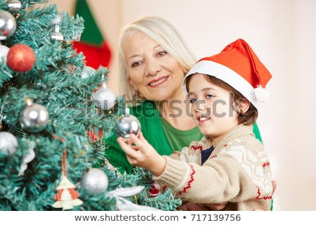 A grandchild with his grandmother in his room Stock photo © Lopolo