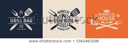 Steak house logo template. BBQ grill bar emlem. Barbecue summer typography label. Design for t-shirt Stock photo © JeksonGraphics