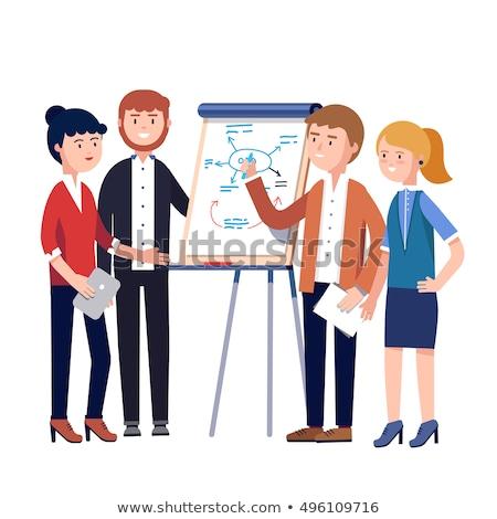 Gerente esquema reunião de negócios mulher suporte Foto stock © robuart