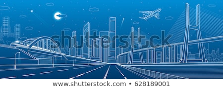 Futuristic Skyline with Transports on Roads Vector Stock photo © robuart