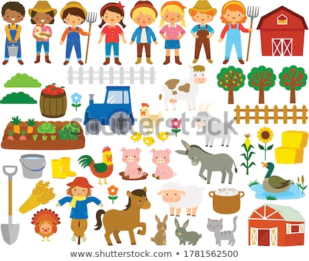 Set of farming items with barn and scarecrows Stock photo © bluering