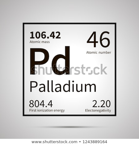 Palladium chemical element with first ionization energy, atomic mass and electronegativity values ,s Stock photo © evgeny89
